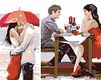 Картина по номерам на холсте Идейка Диптих. Первое свидание (2 картины, 40х20, 40х30см) Диптих 40 х 50 см