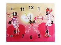 Часы настенные Любовь Два сердца в розовых тонах