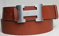 Кожаный мужской ремень под джинсы с логотипом Hermes 2746 коричневый ДхШ: 115х4 см.
