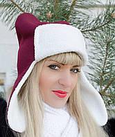 Оригинальная шапка-ушанка с ушками, цвета в ассортименте