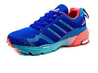 Кроссовки Adidas Marathon TR 15, унисекс, синие, бирюзово-коралловые вставки, фото 1