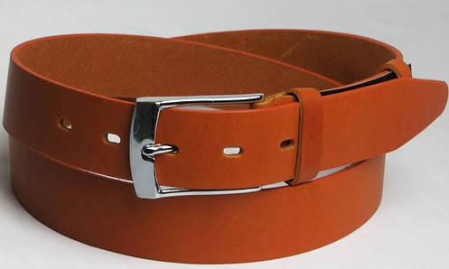 Брючный мужской кожаный ремень 2624-1 рыжий ДхШ: 130х3,5 см.