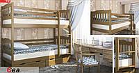 """Двухъярусная кровать """"Ева"""" с ящиками, из натурального дерева (детская, трансформер)"""