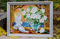 Витражная картина «Голуби и розы»