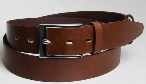 Брючный мужской кожаный ремень 2624 коричневый ДхШ: 118х3,5 см.