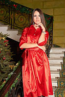 Платье женское атласное с поясом в комплекте
