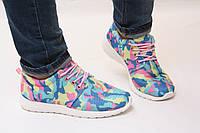 Кроссовки в стиле Nike Roshe Run голубые камуфляжные