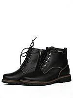 Женские демисезонные кожаные черные ботинки со шнуровкой