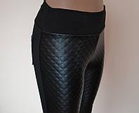 Лосины женские, эластик+кожа, размеры  XL, 3XL, 4XL №70401