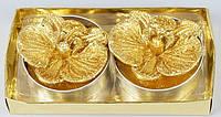 Набор новогодних свечей 2шт в метал. подсвечниках Орхидея