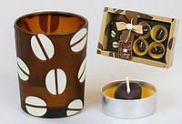 Набор: 4 свечи + стекл. подсвечник