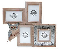 Рамка коллаж деревянная на 4 фото Сова