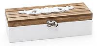 Шкатулка деревянная с гипсовым декором