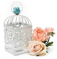 Декоративная клетка-подсвечник с керамической птичкой