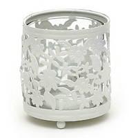 """Подсвечник металлический """"Цветы"""" со стеклянной колбой, цвет - белый"""