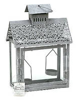 Фонарик на 2 свечи в форме домика, цвет - серый