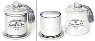 Свеча ароматизированная в стекл. подсвечнике с куполом и кисточкой (серебро, 120г), аромат: ноты хвои и белой березы