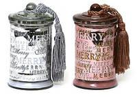 Свеча ароматизированная в стекле с крышкой и кисточкой, большая (серебро и бронза в асс, 195г)