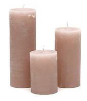 Свеча цилиндрическая 10см, цвет - розово-коричневый