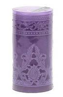 Свеча резная Венеция 18см, цвет - лавандовый