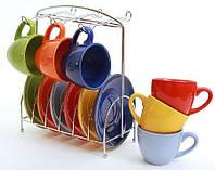 Набор: 6 чашек + 6 блюдец на метал. подставке