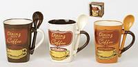 Кружка с ложкой в подарке COFFEE 320мл в ас 3