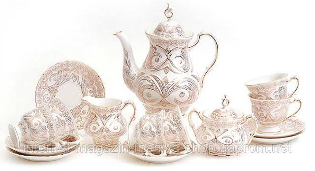 Сервиз чайный 15пр.: 6 чашек + 6 блюдец + сахарница + молочник