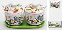 Набор: 2 банки для сыпучих продукттов на керамической подставке + 2 керам. ложки