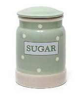Банка керамическая Sugar зеленая в горох 1400мл