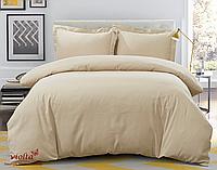Комплект постельного белья, евро, сатин, бежевый, однотонный