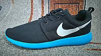 Мужские повседневные кроссовки NIKE Roshe Run черные с синим