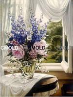 """Алмазная вышивка """"Натюрморт цветочная ваза у окна"""""""