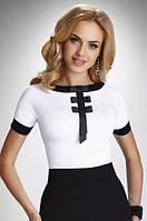 Женская блуза цвета экри с коротким рукавом. Модель Bibiana Eldar, коллекция весна-лето 2016