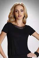 Женская блуза из вискозы черного цвета с коротким рукавом. Модель Carlita Eldar, коллекция весна-лето 2016