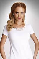 Женская блуза из вискозы белого цвета с коротким рукавом. Модель Carlita Eldar, коллекция весна-лето 2016