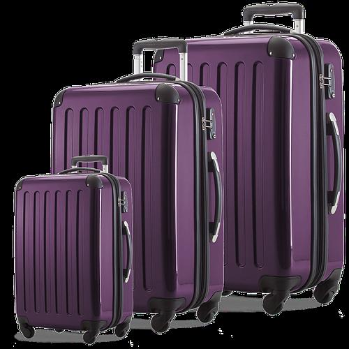 Дорожный набор практичных 4-колесных пластиковых чемоданов HAUPTSTADTKOFFER alex set violet фиолетовый