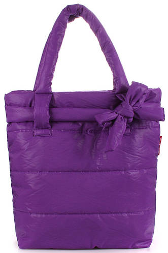 Молодежная женская дутая стеганая сумка POOLPARTY pool-violet-bow фиолетовая