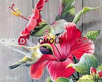 """Алмазная вышивка """"Колибри на красном цветке"""""""