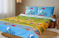 Полуторный детский комплект постельного белья Смурфики