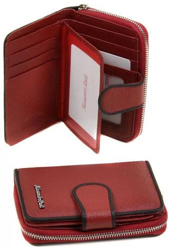 Шикарный кожаный женский кошелек Alessandro Paoli WS-4 red красный
