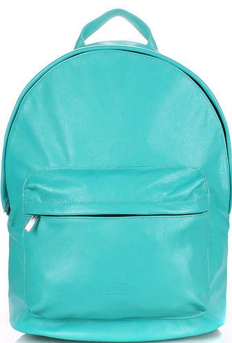 Кожаный яркий женский рюкзак 17 л. POOLPARTY backpack-leather-blue