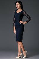Платье Victoria Beckham синее ажюр рукав