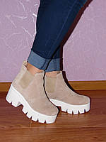 Ботинки, замшевые, на тракторной подошве, бежевого цвета, 37,40р