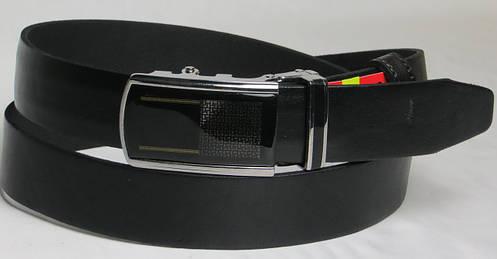 Брючный мужской кожаный ремень пряжка автомат Skipper 5605 чёрный ДхШ: 130х3,5 см.