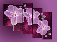 """Модульная картина """"Орхидеи"""" фотопечать на холсте"""