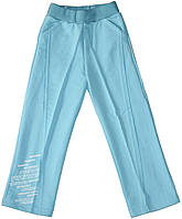 Брюки для мальчика, трикотажные, прямые, голубые, рост 110 см, ТМ Бемби
