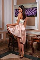 Платье с дорого гипюра со съемной атласной юбкой с удлиненным задом