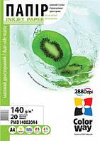 Фотобумага ColorWay матовая двусторонняя 140г/м, A4 PMD140-20