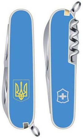 Карманный стильный складной нож Victorinox Spartan Ukraine 13603.7R7 голубой