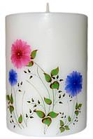 Декоративная свеча полевые цветы d -6  h-8 cm